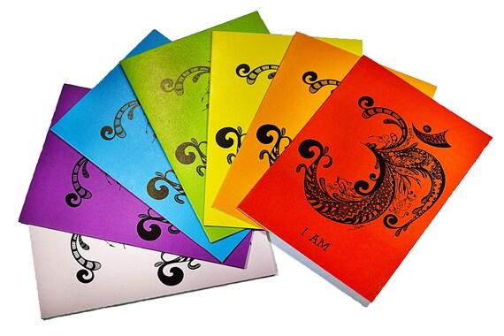 CHAKRA YOGA ART  -  Set of 7 Cards with envelopes 5x7 from original artwork, yoga decor, yoga studio decor
