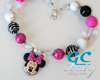 Mouse Bubblegum Necklace - Girls Jewelry Large Rhinestone Minnie Pendant, Round Gumball Beads, Silver Lobster Claw Clasp
