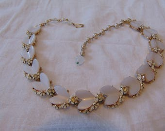 vintage BSK signed white thermoset lucite crystal floral necklace