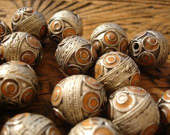 Moroccan very tarnished barrel ornate orange  enamel bead