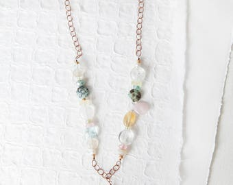 Copper Gemstone Necklace, Pastel, Gemstone Necklace, Turquoise, Copper Necklace, Gemstone Jewelry, Citrine, One of  Kind, Bee, Bee Necklace