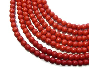 Cherry Red Howlite - 6mm Round Bead - Full Strand - 74 beads - Synthetic Turquoise - candy apple - scarlet - crimson