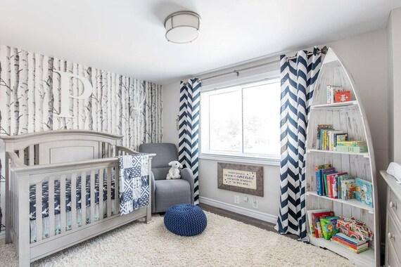 Woodlands Deer Crib Bedding Set Mint Navy Blue Gray Baby