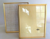 2 Vintage 8 x 10 inch Bright Gold Picture Frames - Mid Century Modern, Married Pair, Hollywood Regency, Tabletop, Wedding Photo, Easel