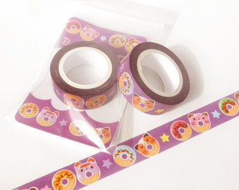 Donut Washi Tape. Planner Decoration. Kawaii Washi Tape. Cute Washi Tape. Masking Tape. Planner Supplies. Craft Tape. Animal Washi Tape.