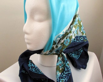 1960s blue floral bohemian scarf - free US shipping!