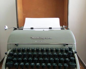 1953 Remington Quiet-Riter typewriter, green, with case