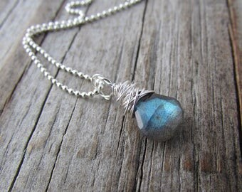 Small Labradorite Necklace, silver wire wrapped, small faceted labradorite pendant