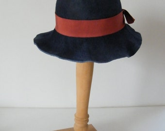 Large long brim blue felt hat / navy winter hat / cool wool winter hat / womens hat made in Israel Raanana