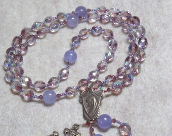 Catholic Rosary Purple Czech Crystal and Lavender Jade and Brass