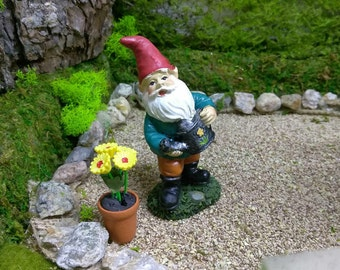 Flower Watering Gnome in the Fairy Garden