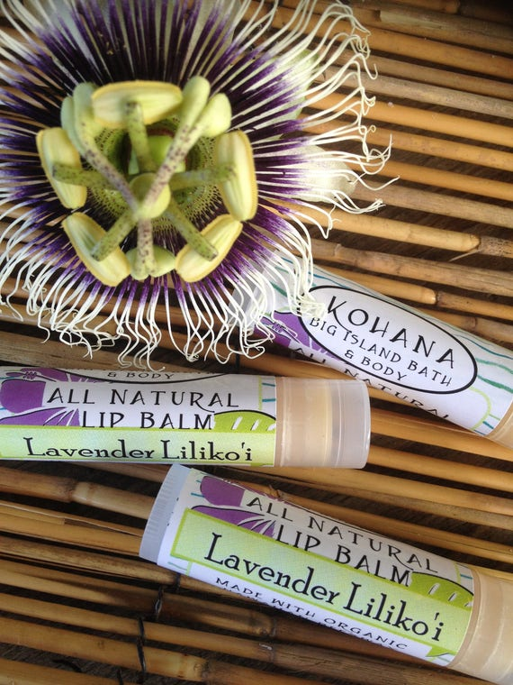 THREE Lavender Liliko'i Lip Balm Organic Beeswax-Made in Hawaii