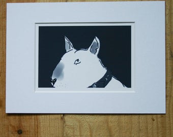 Bull Terrier Small Sketches with White mount  A5 Choice of 4 Monochrome