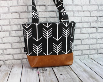 Lulu Medium Tote  Bag - Black Arrow and PU Leather -READY to SHIP  Purse Shoulder Straps 3 pockets Handbag Washable