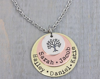 Personalized Necklace - Hand Stamped Jewelry - Family Tree Necklace - Personalized Jewelry - Name Necklace