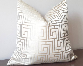 Greek Key Geometric Maze Woven  Designer Pillow Cover, Steel Gold and Ivory Accent Pillow, PillowSplashStudio