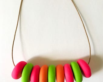Colorful Beaded Necklace Neon