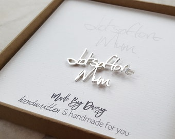 Groom gift from bride- Wedding gift husband- Groom gift- Memorial jewelry handwriting- custom handwriting- lapel pin- personalized brooch