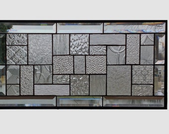 Beveled clear glass transom stained glass window panel geometric abstract stained glass panel window panel large 0219 22 1/2 x 11 1/2