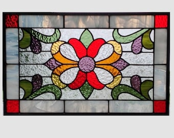 Victorian Stained glass panel window hanging purple red amber green stained glass window panel stained glass  flower 0247 18 1/2 x 11 1/2