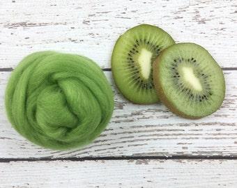 Kiwi Green Merino Wool Roving, wet felting wool roving, needle felting wool, spinning wool, nuno felting wool, green merino wool