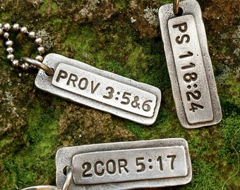 PRE-STAMPeD Bible VerseTag® & ShieldTag® Pendants | necklace or keyring | rustic pewter | SiNGLE or SET | Inspirational Group Gift