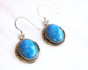 Lapis Dangle Earrings Vintage Sterling Silver Dangles Denim Blue Southwestern Everyday Oval Drops