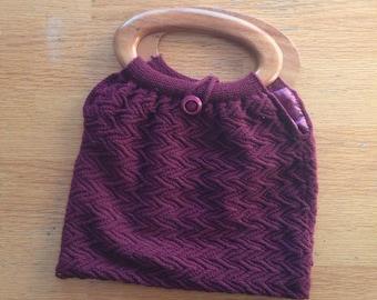 Hand Knit Handbag, Wooden handles