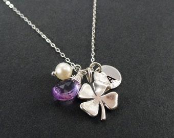 Shamrock neklace, bridesmaid gift, personalized shamrock necklace, lucky charm, St Patricks day wedding jewelry, otis b, four leaf clover