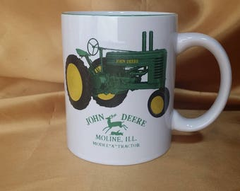 John Deere Cup Mug Model A Tractor Two-Sided Graphic Moline ILL *eb