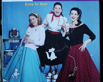 Simplicity 5403 Retro Costume Poodle Skirt Sewing Pattern  Size 6-8-10-12 Bust 30.5-31.5-32.5-34