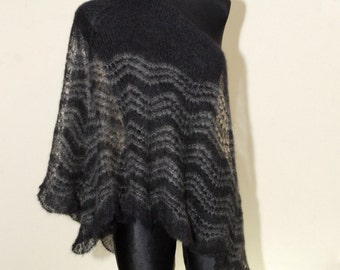 Goth Hand Knit Lace Shawl, Black and Grey Hand Knit Shawl, Black and Silver Triangle Shawl, Mohair Shawl, Christmas Gift Idea for Her