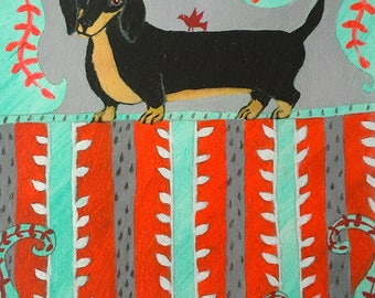 Daschund Art Daschund Giclee Dog Art Canvas Giclee Daschund Decor Dog Decor Weiner Dog Art Wall Art Home Decor