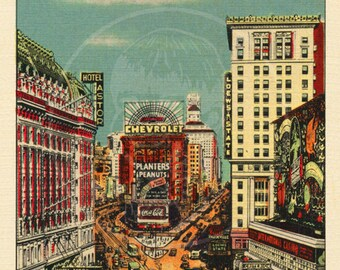 Times Square - 10x16 Giclée Canvas Print of a Vintage Postcard
