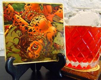 Handmade Comic Travertine Coaster - Tigress