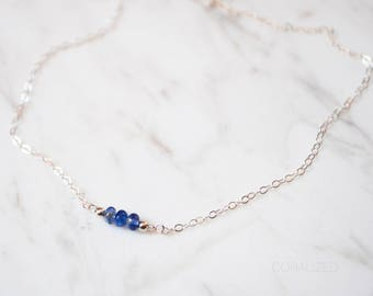 Silver or Gold Sapphire Necklace, Sapphire Choker Necklace, Stone Bar Necklace, September Birthstone, Sapphire Necklace, 14kt Gold Filled