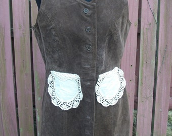 Brown Leather Suede Duster Jacket with Vintage Doilies / Altered Couture Refashion / Medium