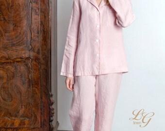 Luxury Linen Pajama Set For Women/ Pajama With Handmade Drawnwork At Sleeves bottom And Pocket