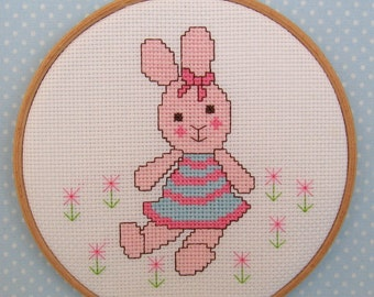 NEW - Candytuft – bunny rabbit cross stitch pattern – PDF instant download