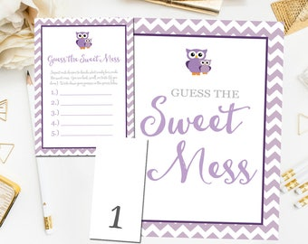 Guess The Mess Game, Printable Baby Shower Guess The Sweet Mess Game, Purple Owl Baby Shower Games Instant Download, Diaper Game item18