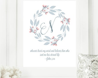 "Instant Monogram Scripture Wall Art Print 8x10 Typography Letter ""N"" Printable Home Decor"