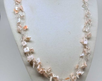 Pink Mother of Pearl and Silver Necklace