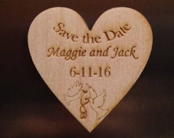 Wedding Save the Date Heart Magnets