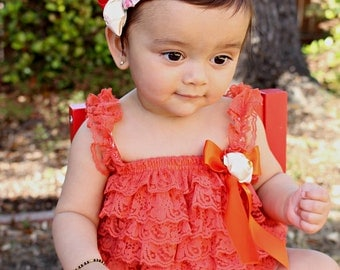 Halloween Outfit - Lace Romper - Petti Romper - Ruffle Baby Romper - Baby girl 1st birthday outfit - Fall Outfit - Holiday Photo Outfit