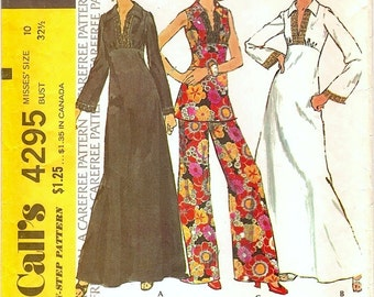 Boho Vintage 1970s McCall's 4295 High Waist Caftan Style Maxi Dress or Tunic Top and Wide Leg Pants Sewing Pattern B32.5 W25
