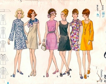 Great Vintage Early 1970s Butterick 5769 Half-Size A-Line Shift Dress in 5 Versions Sewing Pattern B41