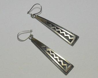 SALE Vintage Sterling Silver Jimmy Herald Navajo Southwestern Long Pierced Dangle Triangle Earrings
