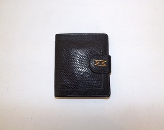 Vintage Mappin and Webb real lizard skin and black leather wallet