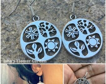 Four seasons earrings, 4 seasons, spring summer fall winter