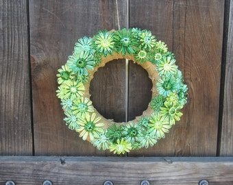 Rita 12 inch burlap wreath with flowers woven in shades of emerald green vintage Swistraw by Ruby Buffalo.